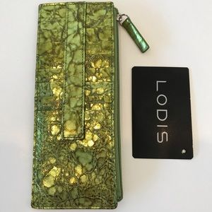 LODIS Green Credit Card Holder W/ Zipper Pocket